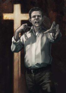 Der fiktive christlich-klerikale CDU-Politiker Peter Harrach, Illustration von mandelbrot