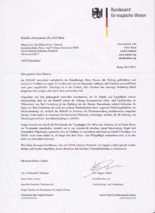 In einem Schreiben an NRW-Umweltminister Remmel schlägt BAfmW-Präsident Dräcker eine Regelung zur Haltung von Drachen und die Keulung von Engeln vor.