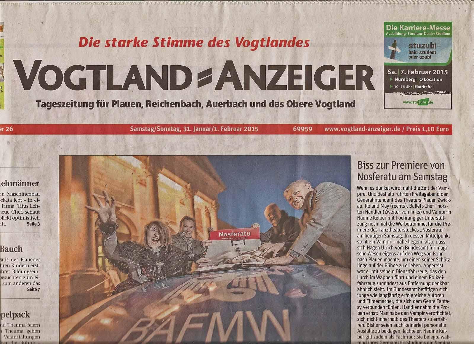 Der Vogtland-Anzeiger vom 31. Januar zum Bundesamt für magische Wesen